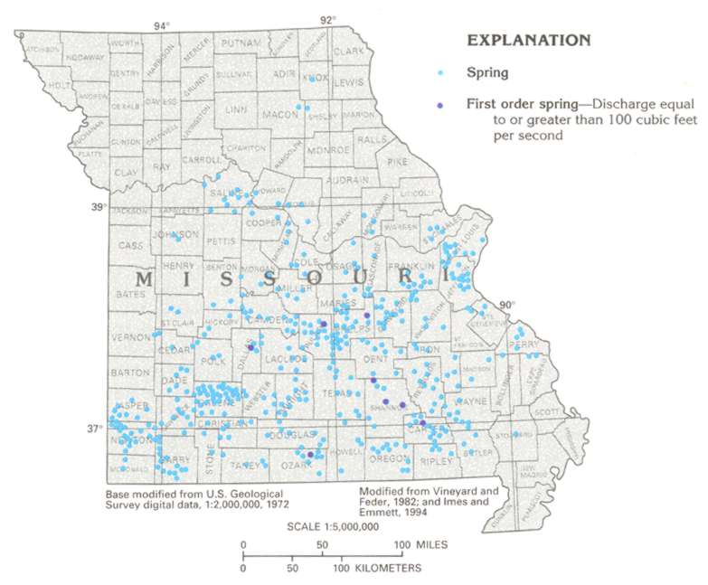 Missouri Springs Distribution Maps - Map of misouri