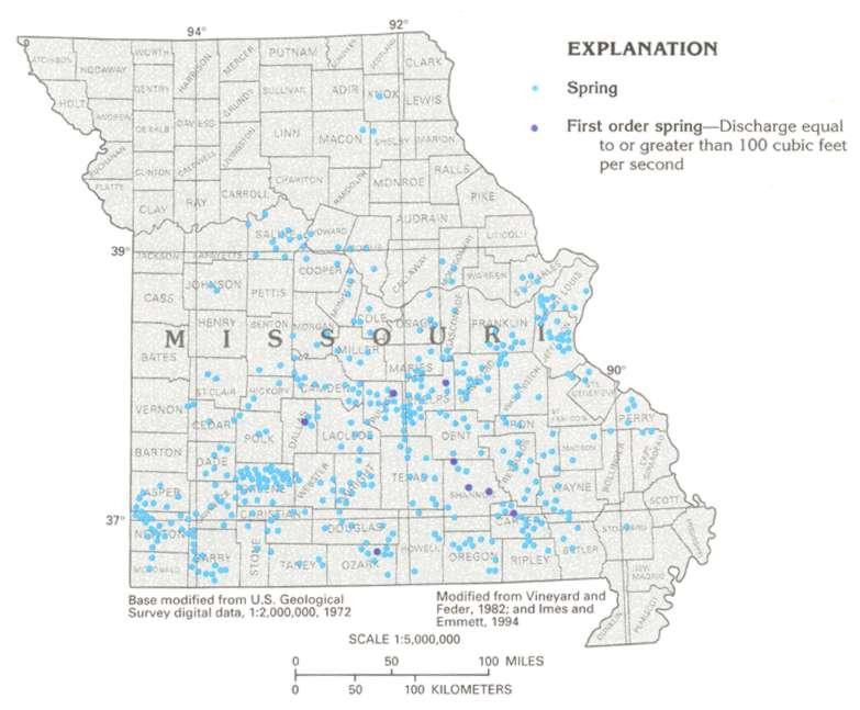 Missouri Springs Distribution Maps - Map of missouri
